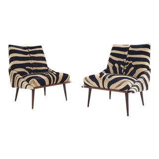 Forsyth One of a Kind Adrian Pearsall Style Lounge Chairs Restored in Zebra Hide - a Pair