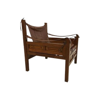 Vintage South American Leather Safari Campaign Lounge Chair