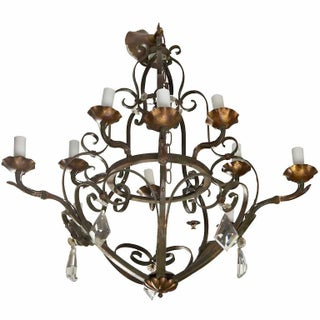 French Fer Forge Ten-Light Chandelier With Crystals