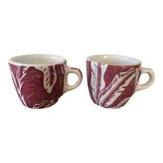 Tepco China Red Banana Leaf Coffee Cups - A Pair