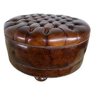 Leather Tufted Round Ottoman With Bun Feet