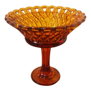 Amber Pressed Glass Pedestal Candy Dish