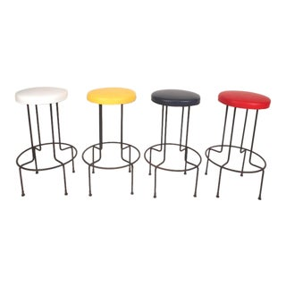 Set of Mid-Century Modern Wrought Iron Bar Stools by Frederick Weinburg