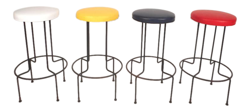 set of midcentury modern wrought iron bar stools by frederick weinburg
