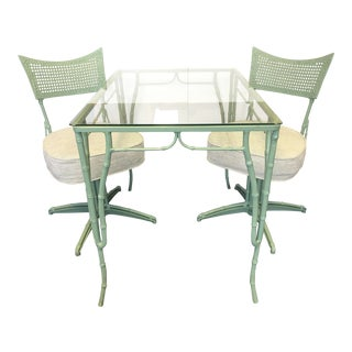 Vintage 1960's Faux Bamboo Metal Cafe Table and Chairs