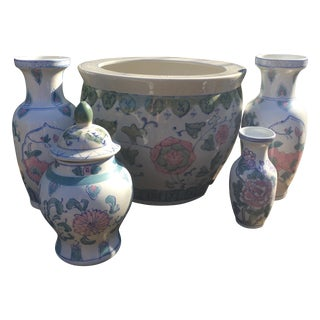 Chinoiserie Garden Ginger Jars - Set of 5