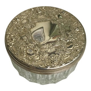Vintage Sterling Silver Plated Vanity Container