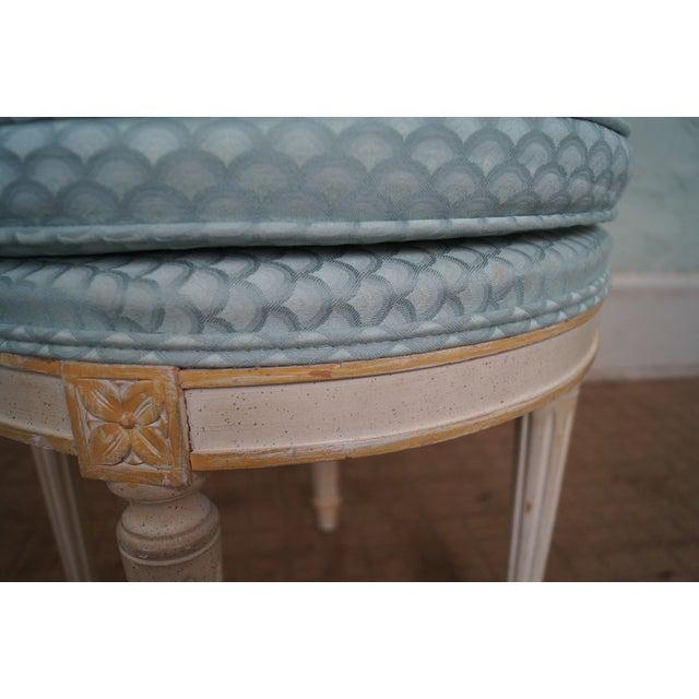 Vintage French Louis XVI Style Swivel Vanity Bench - Image 6 of 10