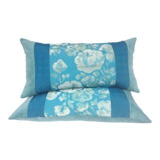 Blue Japanese Obi Pilows - A Pair