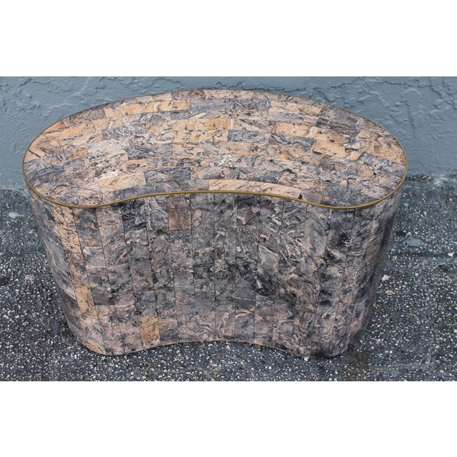 Mid-Century Kidney Shaped Tessellated Stone Coffee Table - Image 9 of 10