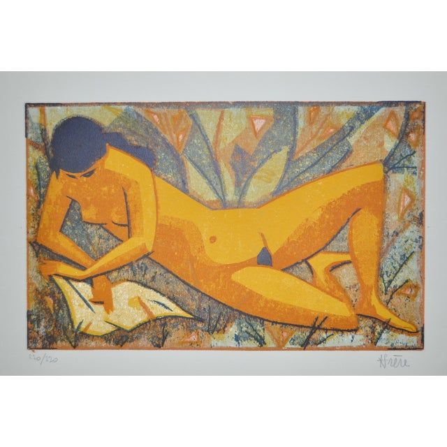 Image of Mid-Century Nude Figure Color Lithograph Print