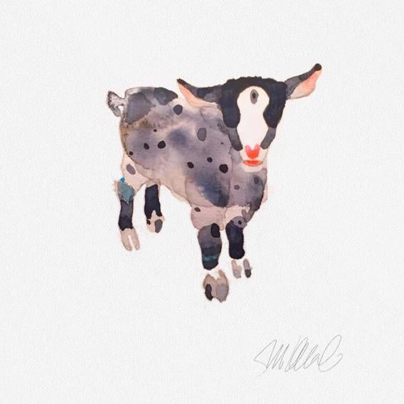 Pink and Grey Goat Print - Image 1 of 3