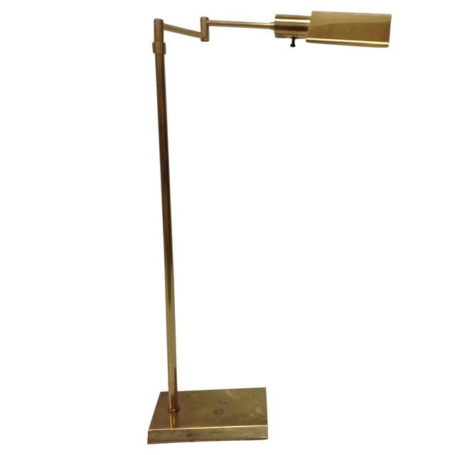 walter van nessen brass swing arm floor lamp chairish. Black Bedroom Furniture Sets. Home Design Ideas