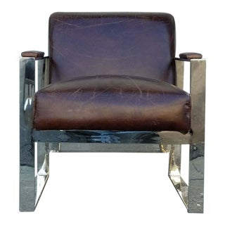 Chrome and Tobacco Brown Leather Lounge Chair