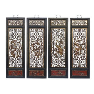 Chinese Flower Birds Red Black Golden Wood Wall Panel Set