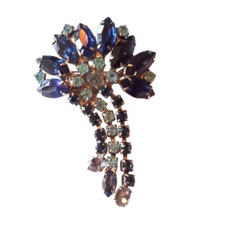 1960s Blue Rhinestone Brooch with Pendants