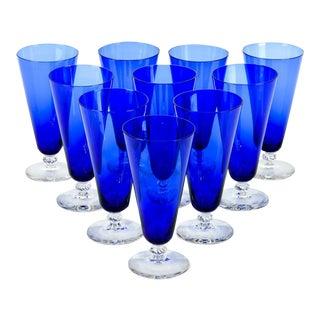 Vintage Cobalt Crystal Juice Glasses - Set of 10