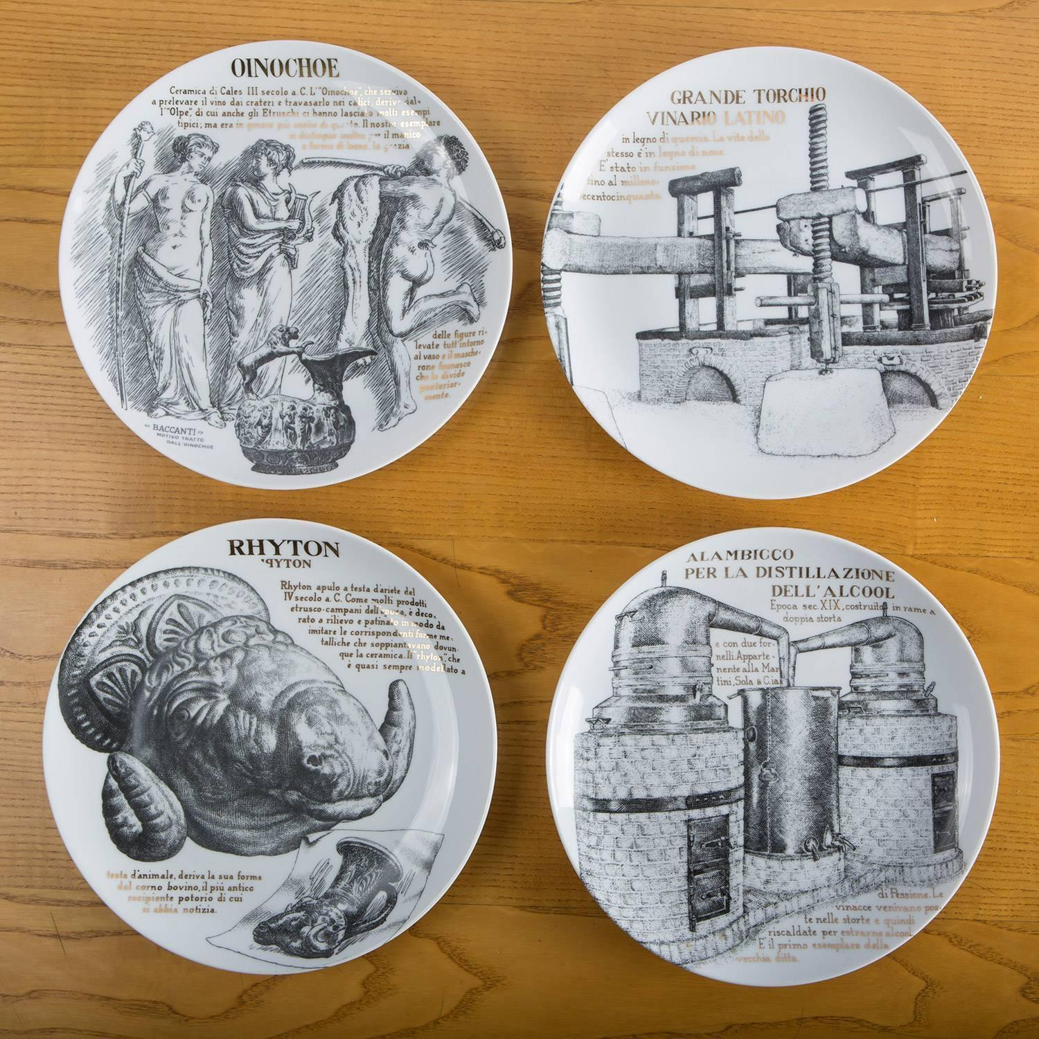 set of 12 fornasetti plates for martini u0026 rossi image 4