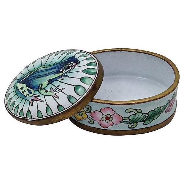 Image of Turquoise Enamel Frog Box