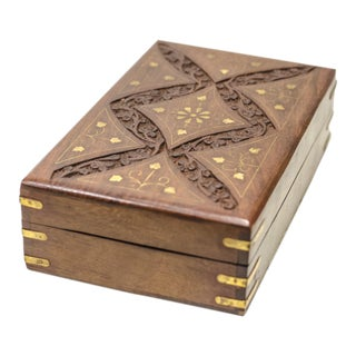 Engraved Wood Moroccan Jewelry Box