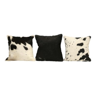 Black And White Cow Hide Pillows - Set of 3
