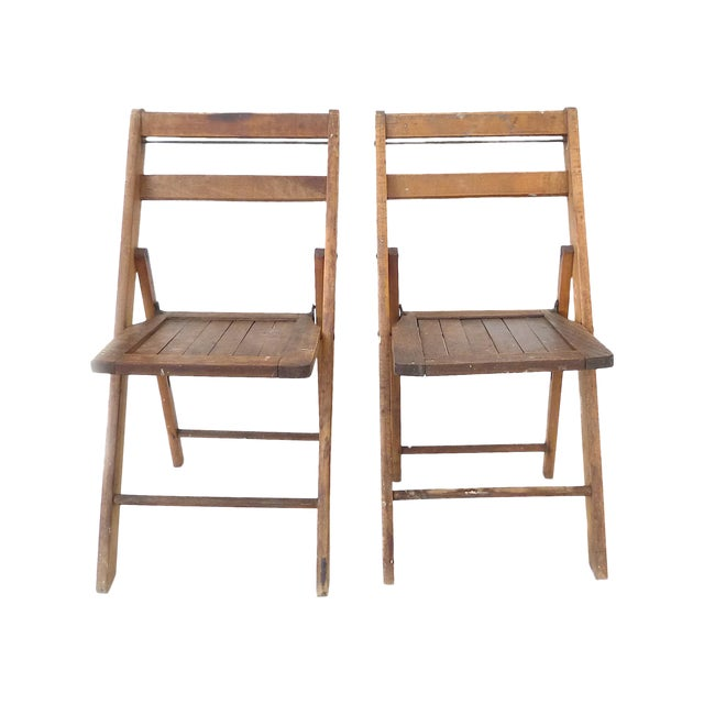 Image of Vintage Wood Folding Chairs - Pair