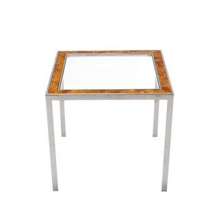 Chrome Burl Wood Glass Square Side Table