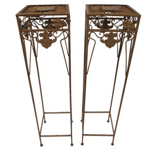 Tall Grape and Leaf Plant Stands - Pair