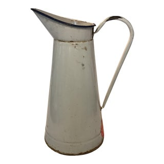 French White Enamel Pitcher