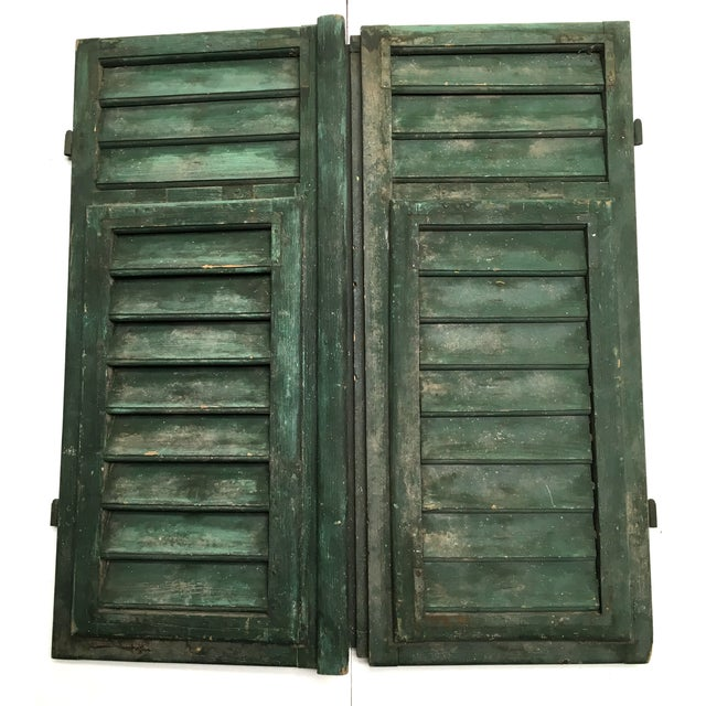 Vintage French Louvered Shutters - A Pair - Image 3 of 9