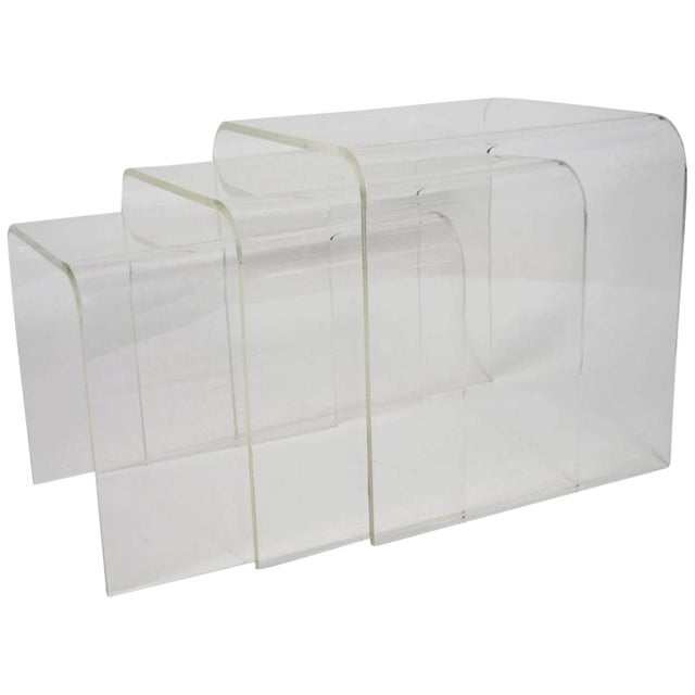 Set of Three Lucite Nesting Tables - Image 1 of 7