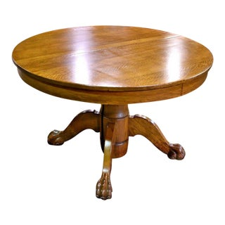 Antique Round Tiger Stripe Quarter Sawn Oak Dining Table