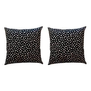 Black & Blush Pink Dot Kate Spade Pillows - a Pair