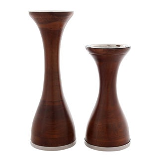 Wood Pillar Candle Holders - Set of 2