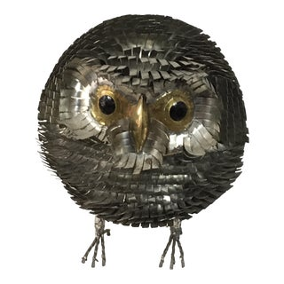 Brutalist Chrome Owl Attributed To Curtis Jere