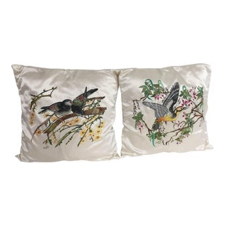 Hand Painted Silk Pillows - A Pair