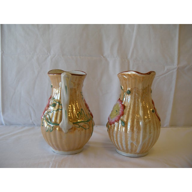 Botanical Lusterware Pitchers - A Pair - Image 3 of 4