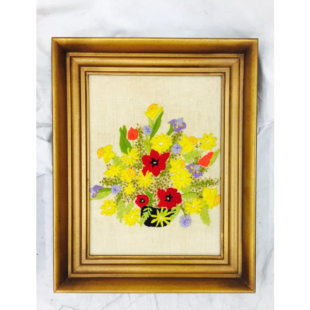 Image of Vintage Floral Needlepoint Panels- A Pair