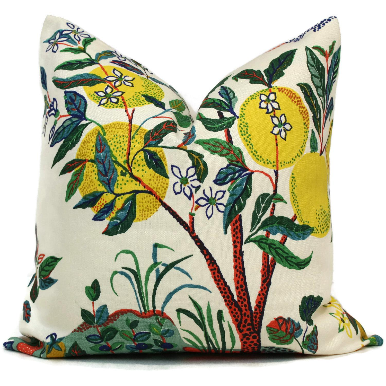 """20"""" x 20"""" Citrus Garden With Lemon Tree Decorative Pillow Cover"""
