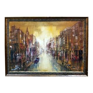 Fritz Heite Modernist Street Scene Oil Painting
