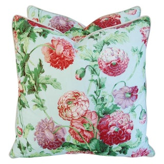 Designer Brunschwig & Fils Poppies Pillows - a Pair