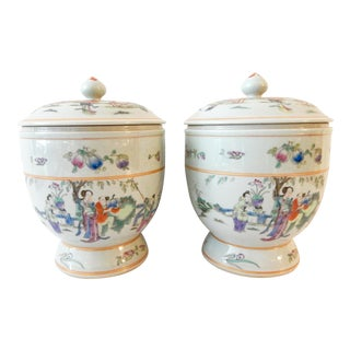 Famille Rose Tea Canisters - A Pair