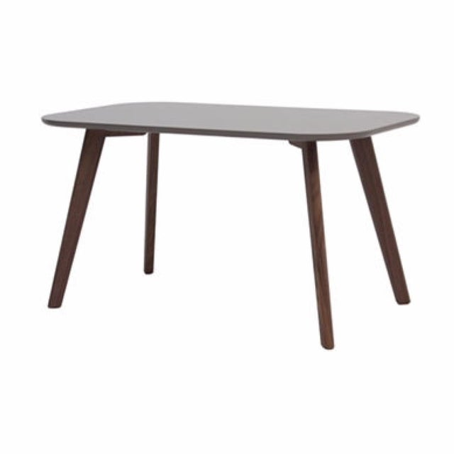 Gray Gloss Dining Table with Walnut Legs - Image 1 of 3