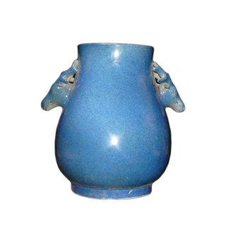 Chinese Deer Head Accent Blue Glaze Vase/Pot