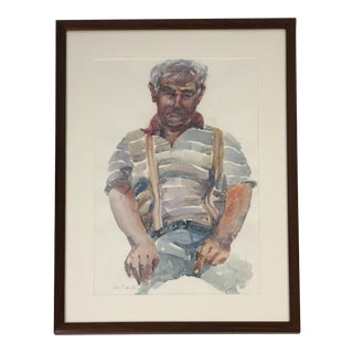 Man in Suspenders Portrait Painting