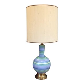 Vintage Striped Pottery Lamp