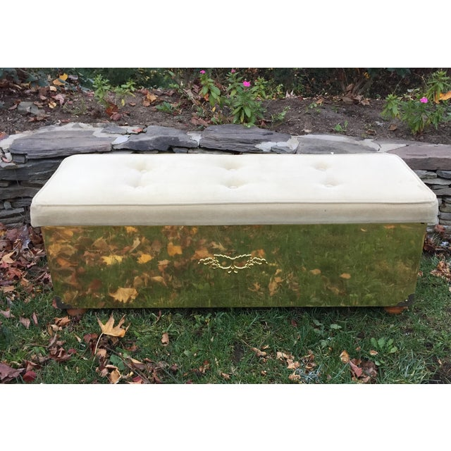 Vintage Tufted Brass Cedar Lined Chest Bench - Image 2 of 11