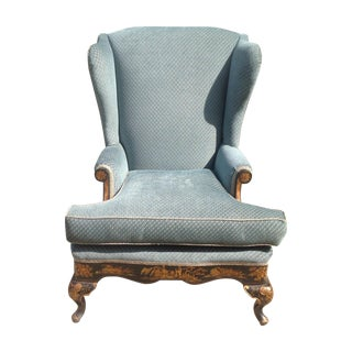 Antique Wing Back Chair With Asian Motif
