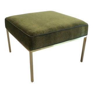 Green Mohair & Brass Ottoman
