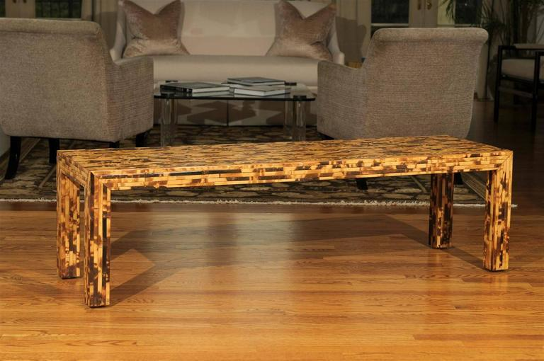 Handsome Vintage Bamboo Tortoise Shell Style Coffee Table Or Bench   Image  2 Of 10